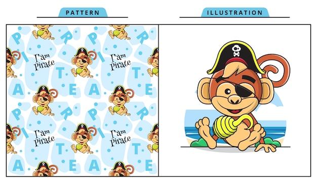 装飾的なシームレスパターンを持つ海賊衣装を着てかわいい猿のイラスト