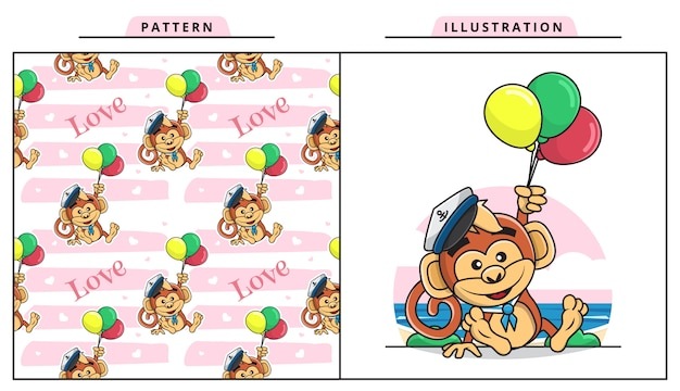 Иллюстрация милой обезьяны в костюме моряка и держащей баллон с декоративным бесшовным узором