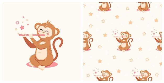 Иллюстрация милой обезьяны с безшовной картиной. может использоваться для печати детских футболок, модного принта, детской одежды, поздравительных открыток и пригласительных билетов.
