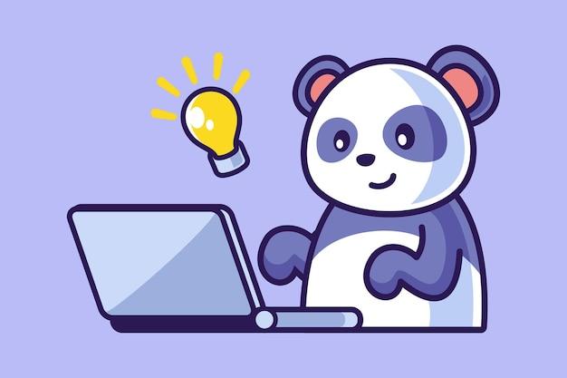 ノートパソコンに取り組んでいるかわいいパンダのイラスト