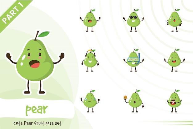 Иллюстрация милые груши фруктовый набор