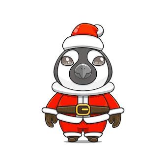 크리스마스에 산타 클로스 의상을 입고 귀여운 펭귄 마스코트의 그림