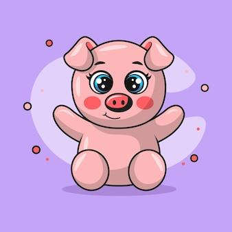 행복하게 웃는 귀여운 돼지 동물의 그림