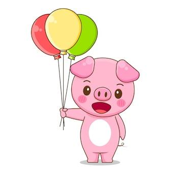 풍선을 들고 귀여운 돼지의 그림