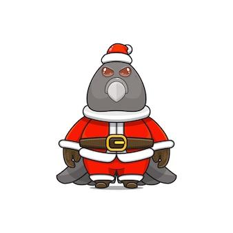 クリスマスのサンタクロースの衣装を着てかわいい鳩のマスコットのイラスト
