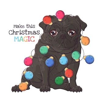Иллюстрация милой собаки мопса с рождественской гирляндой.