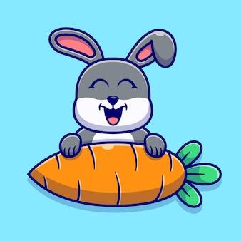 かわいいウサギとニンジンのイラスト。動物