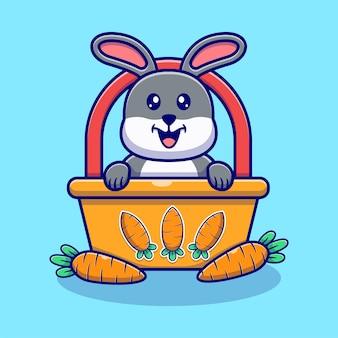 かわいいウサギとニンジンのイラスト。