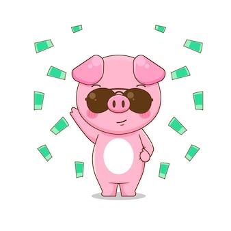 Иллюстрация милой богатой свиньи