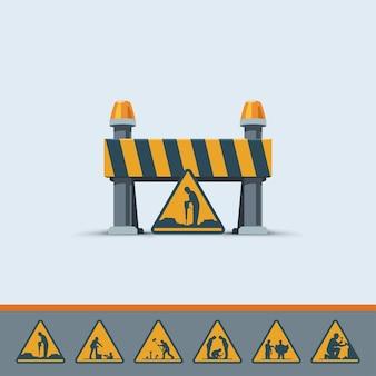 Иллюстрация милой дороги под строящимся шаблоном знака с различными знаками на белом фоне
