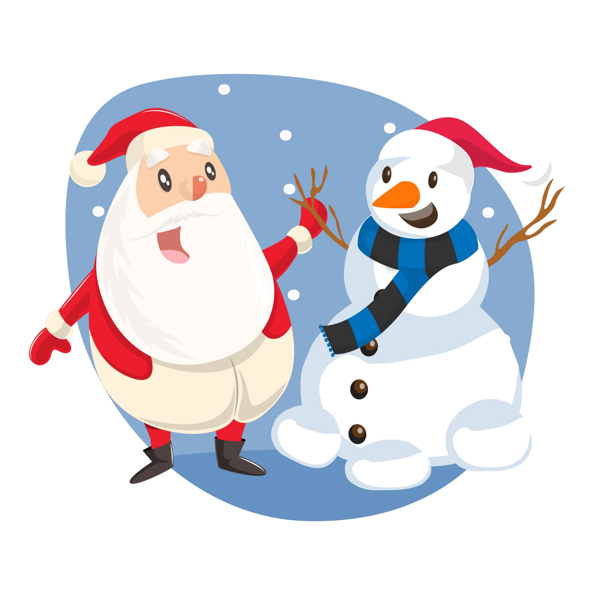 Illustration of cute Santa standing with snowman.