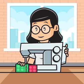 仕立て屋のかわいい女の子キャラクターのイラストは生地を縫製