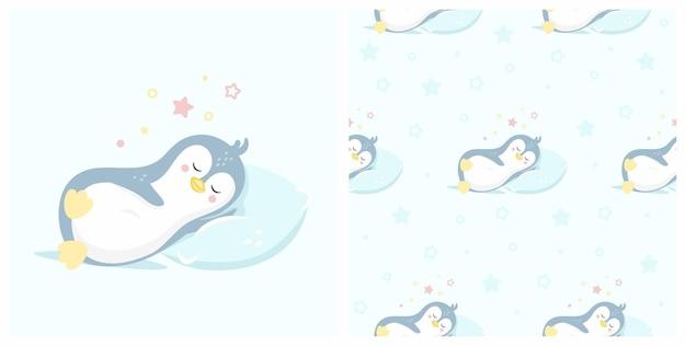 Иллюстрация милого спящего пингвина с безшовной картиной. может использоваться для печати детских футболок, модного принта, детской одежды, поздравительных открыток и пригласительных билетов.
