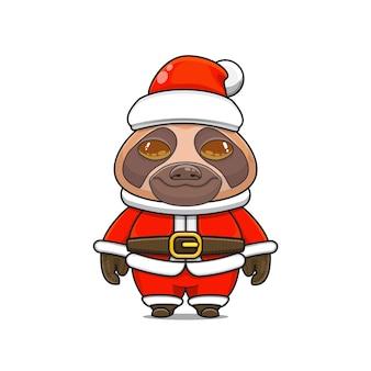 クリスマスのサンタクロースの衣装とかわいいナマケモノのマスコットのイラスト