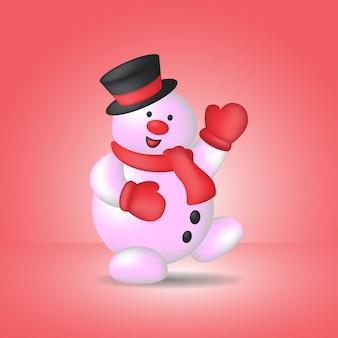 帽子とスカーフを身に着けているかわいい雪だるまのイラスト