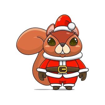 크리스마스에 산타 클로스 의상을 입은 귀여운 다람쥐 마스코트 그림