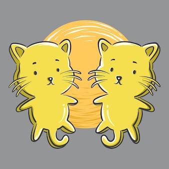 Иллюстрация милого мультфильма игрушки кошки близнецов