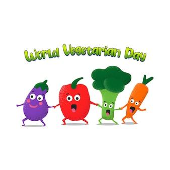 세계 채식주의의 날을 위한 귀여운 야채 삽화