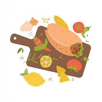 まな板、ブリトー、ニンニク、ライム、唐辛子、トマトのイラスト。メキシコ料理の調理。レストランメニューの手描きフラットフードコンセプト