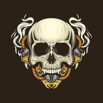 Иллюстрация головы черепа киборга подробно