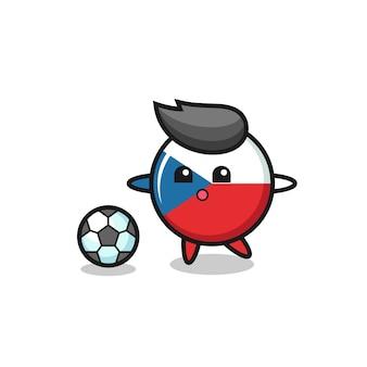 チェコの国旗バッジ漫画のイラストはサッカーをしている、tシャツ、ステッカー、ロゴ要素のかわいいスタイルのデザイン