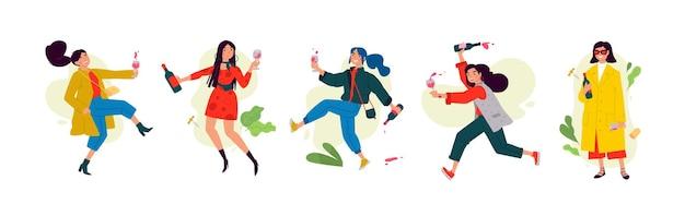 女性の日に踊っている女の子のイラスト女性は休日を祝って楽しんでリラックスしてください