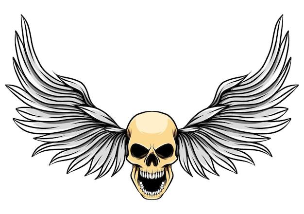 入れ墨のインスピレーションのための人間の死んだ頭蓋骨と威勢のいい翼のイラスト