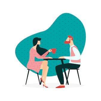 Иллюстрация даты в кафе cartoon flat.