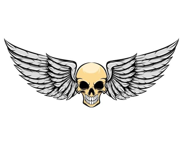날개를 가진 죽은 인간의 두개골의 그림