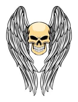 긴 각도 날개를 가진 죽은 두개골의 그림