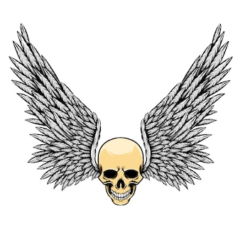 Иллюстрация мертвого черепа с зубами и множеством маленьких перьевых крыльев