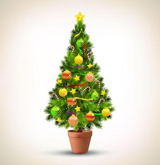 飾られたクリスマスツリーのイラスト