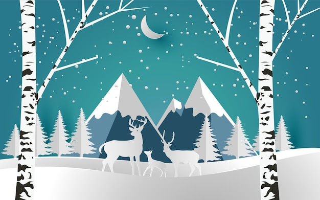 冬の森の鹿のイラスト。デザインの紙アートと工芸品