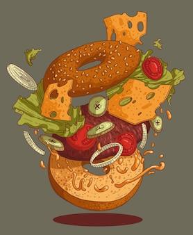 길거리 음식 기호 또는 메뉴 디자인을 위한 맛있는 버거의 그림