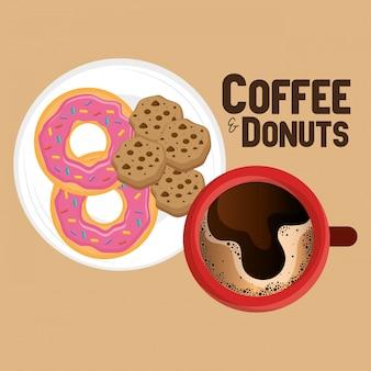 おいしいコーヒーカップとドーナツのイラスト