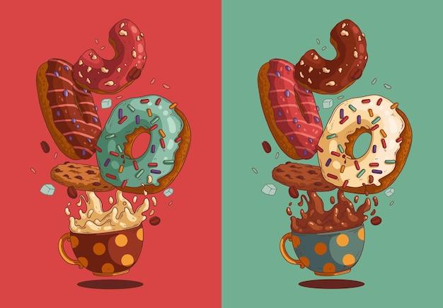Иллюстрация вкусных пончиков и горячих напитков для знака кафе или дизайна меню