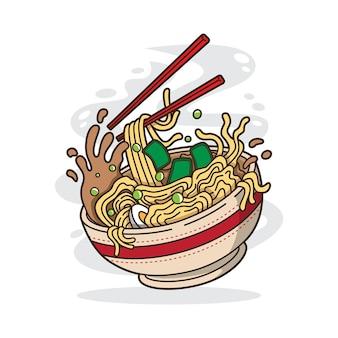Иллюстрация вкусной японской лапши рамэн на миске с плоским стилем
