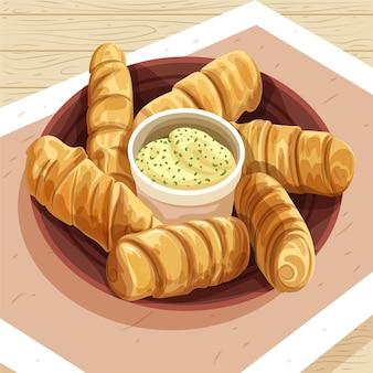 소스와 함께 맛있는 tequenos의 그림