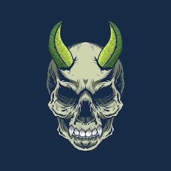 자세한 녹색 뿔 악마 두개골 머리의 그림