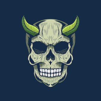 자세한 녹색 경적 악마 두개골의 그림