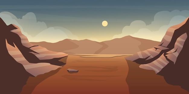 背景の山と砂漠の谷のイラスト