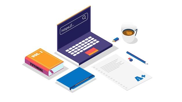 연구 관련 테마 또는 사무실로 사용할 수 있는 아이소메트릭으로 만든 책상 설정의 그림