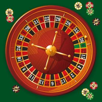 Иллюстрация подробного колеса рулетки казино с фишками для покера.