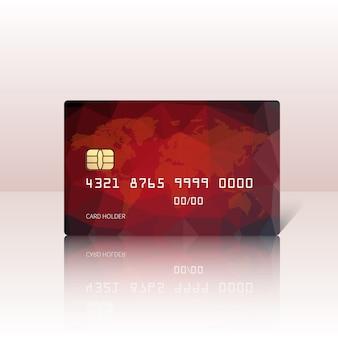 자세한 광택 빨간 신용 카드 밝은 배경에 고립의 그림. 삽화.
