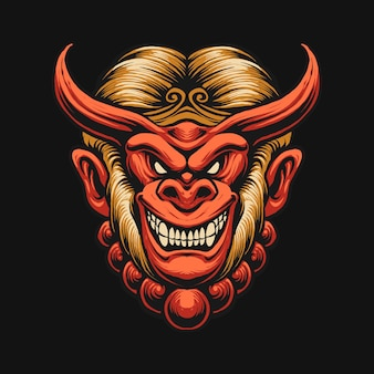 Иллюстрация дизайна головы дьявола обезьяны короля