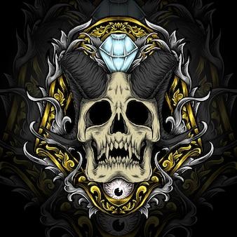 悪魔の頭蓋骨のイラスト