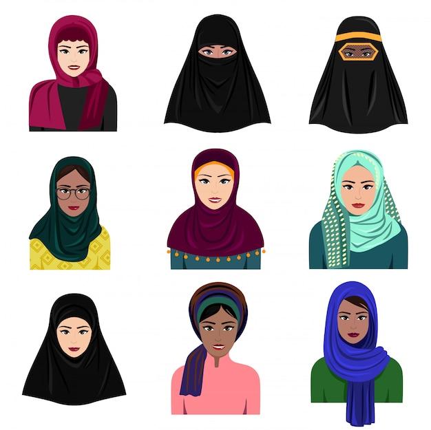 ヒジャーブのアイコンセットで異なるイスラム教徒のアラブの女性キャラクターのイラスト。白い背景で隔離のフラットスタイルの伝統的な服でイスラムのサウジアラビアの民族の女性。