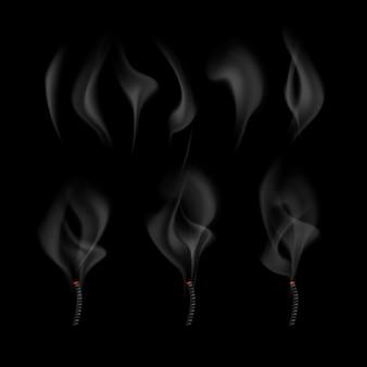 さまざまな現実的なヒューム波セットと黒い背景で隔離の消火された芯から来る煙のイラスト