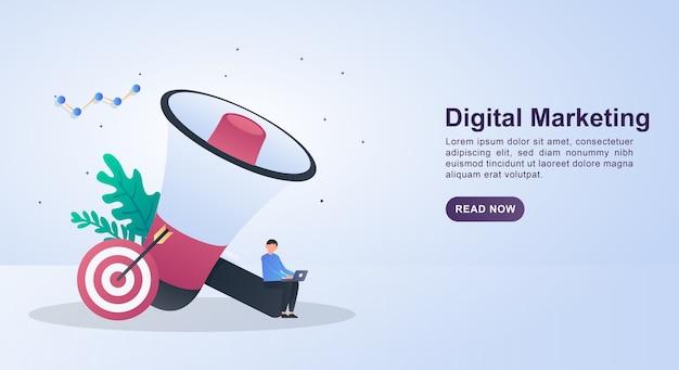 大きなメガホンとターゲットを使ったデジタルマーケティングのイラスト。