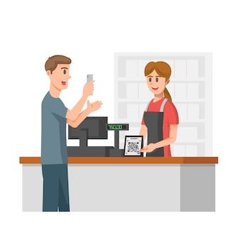Иллюстрация цифровой оплаты в круглосуточном магазине